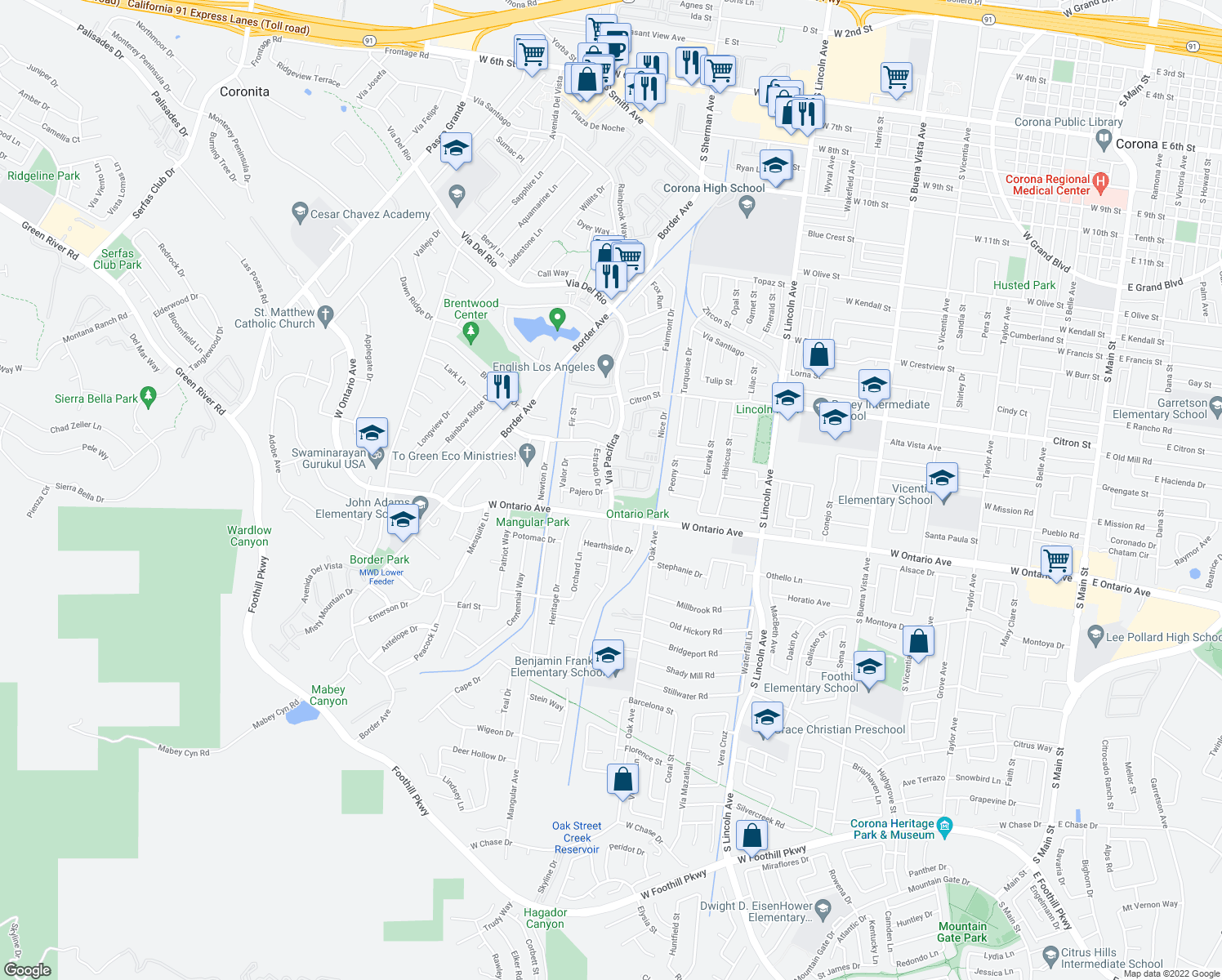 map of restaurants, bars, coffee shops, grocery stores, and more near Vía Pacifica in Corona