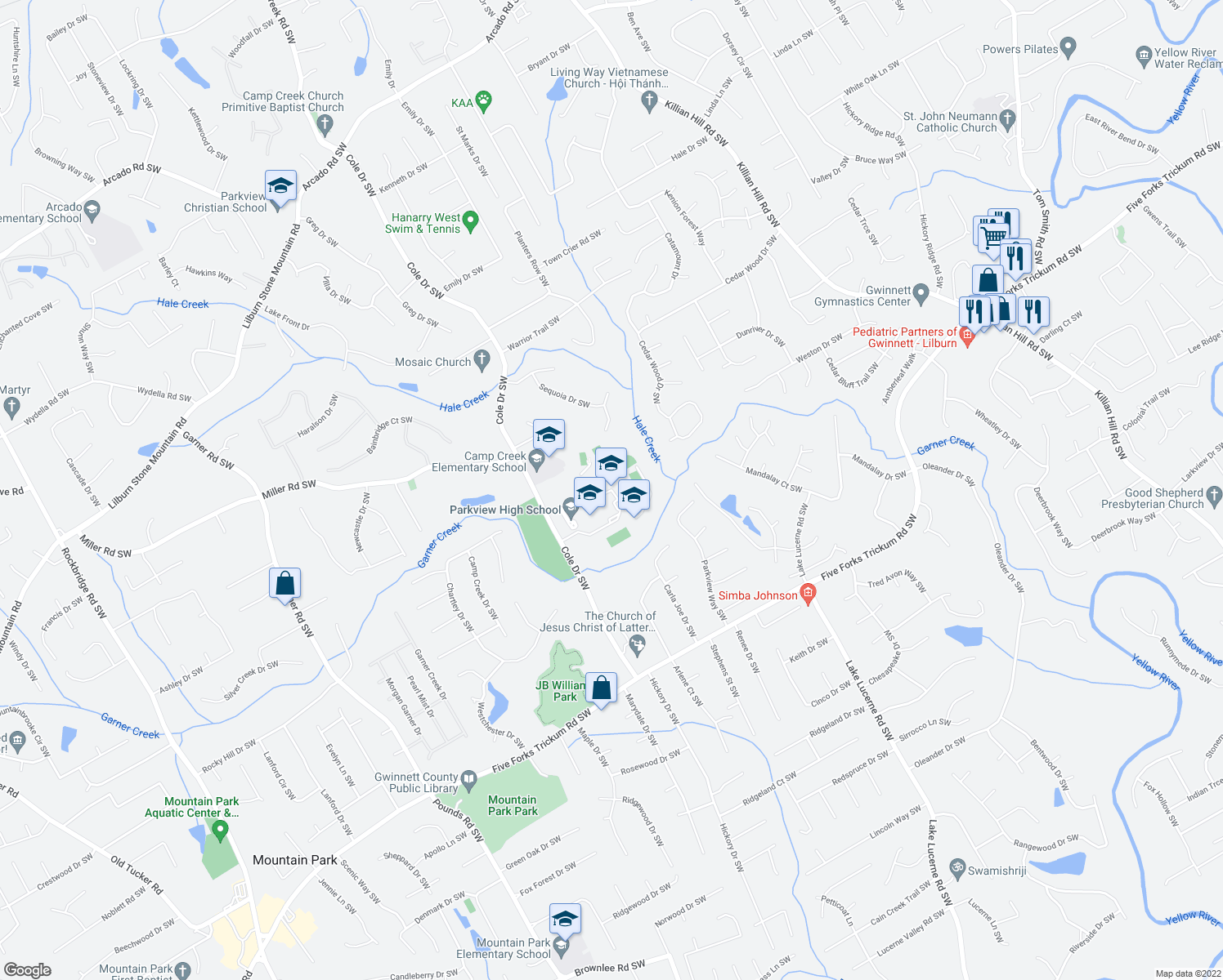 map of restaurants, bars, coffee shops, grocery stores, and more near 998 Cole Drive Southwest in Lilburn