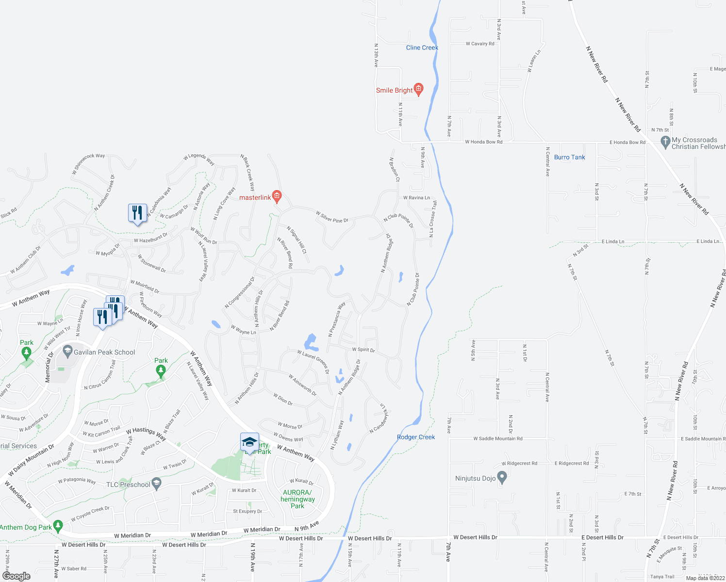 map of restaurants, bars, coffee shops, grocery stores, and more near 1336 West Medinah Court in Anthem