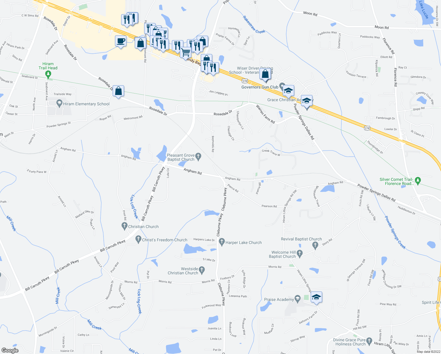 map of restaurants, bars, coffee shops, grocery stores, and more near 1139 Cleburne Pkwy in Hiram