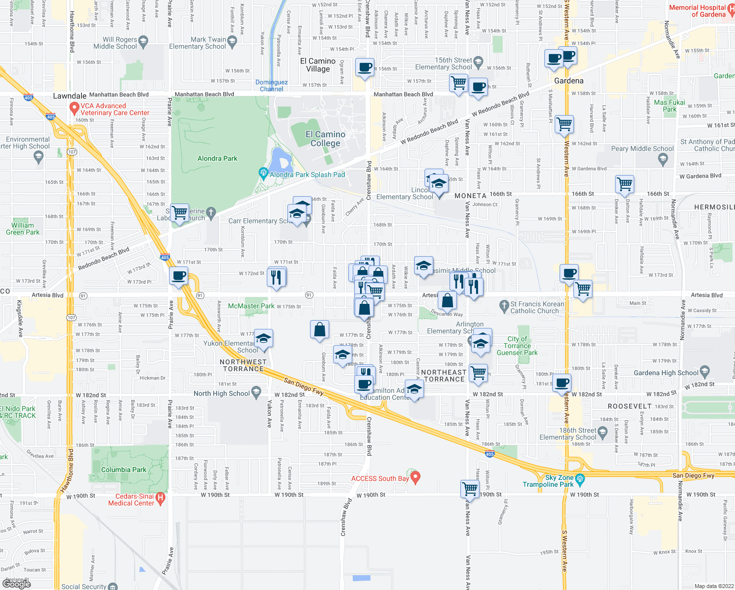 map of restaurants, bars, coffee shops, grocery stores, and more near Crenshaw Blvd & Artesia Blvd in Torrance