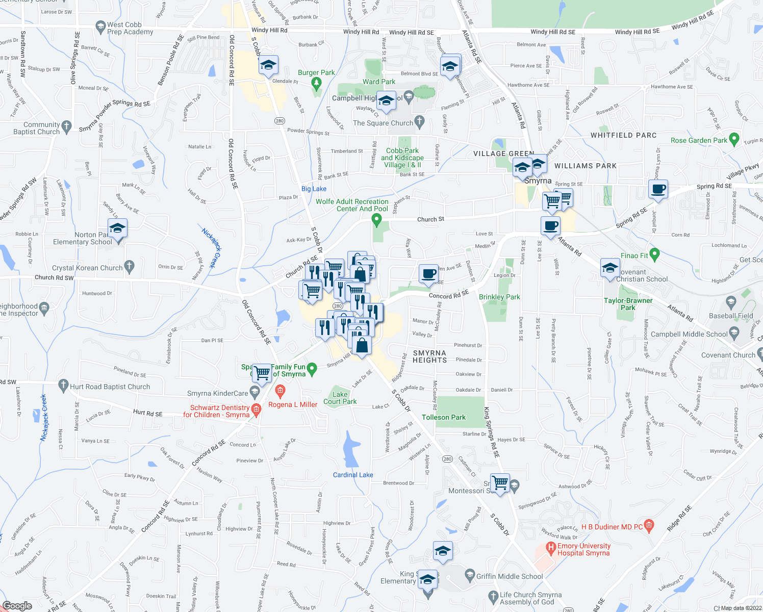 map of restaurants, bars, coffee shops, grocery stores, and more near 838 Concord Road Southeast in Smyrna