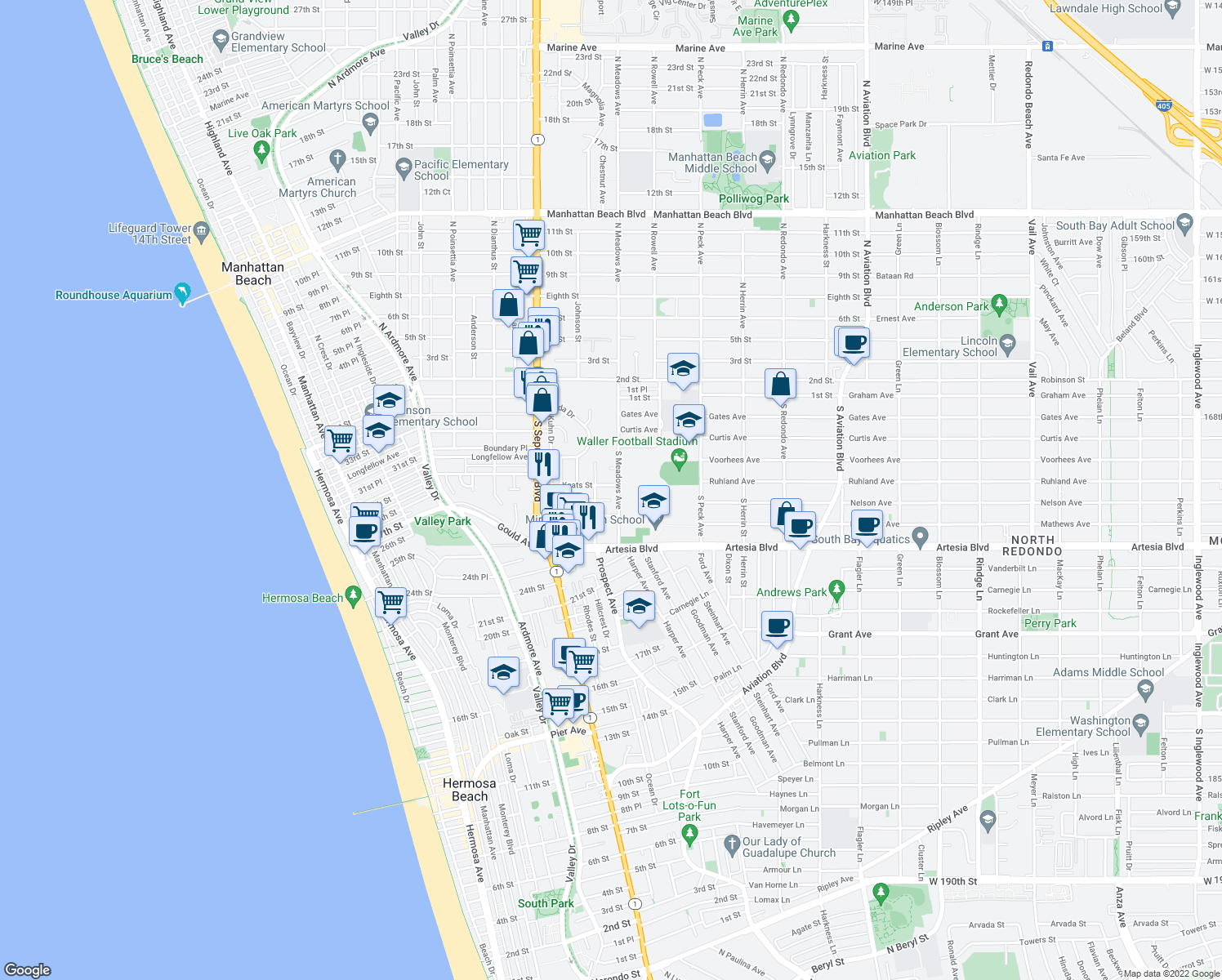 map of restaurants, bars, coffee shops, grocery stores, and more near 1270 Keats St in Manhattan Beach