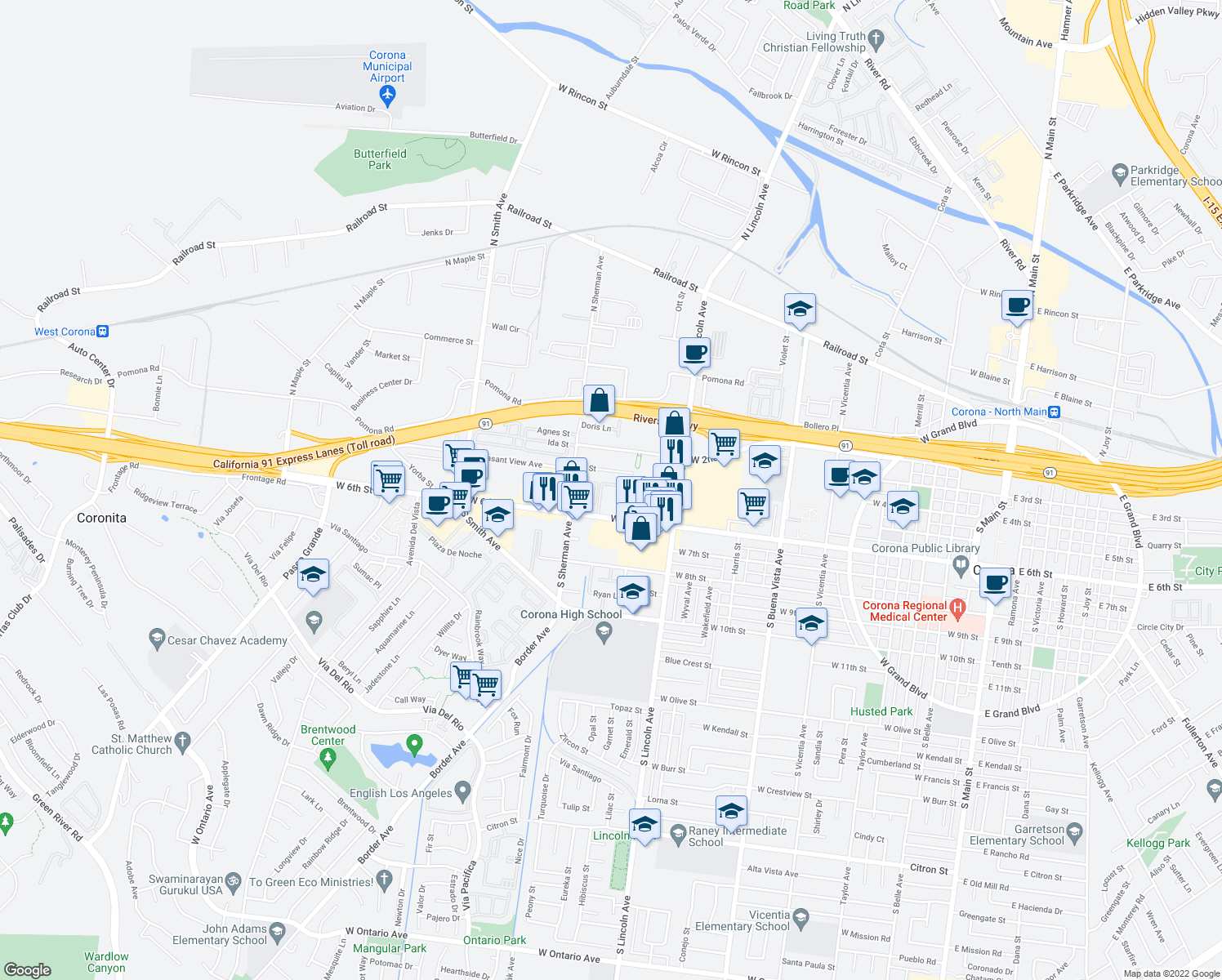 map of restaurants, bars, coffee shops, grocery stores, and more near 1218 E St in Corona
