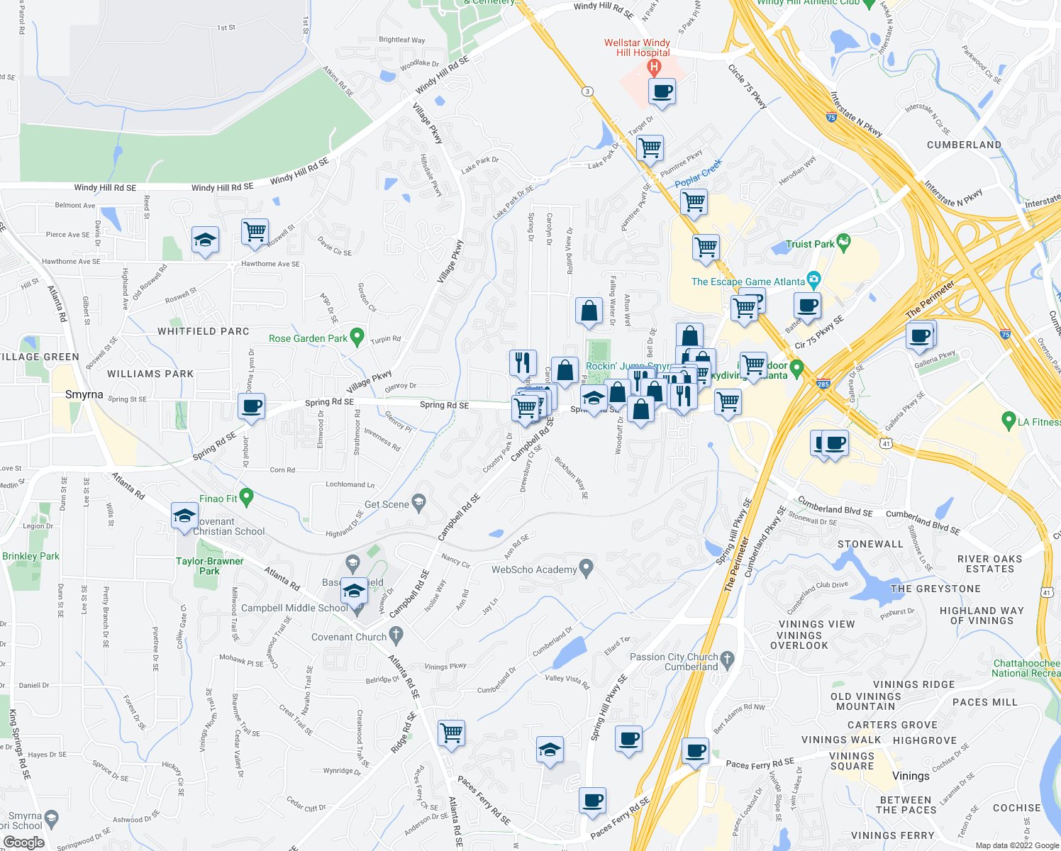 map of restaurants, bars, coffee shops, grocery stores, and more near 2350 Spring Rd SE in Smyrna