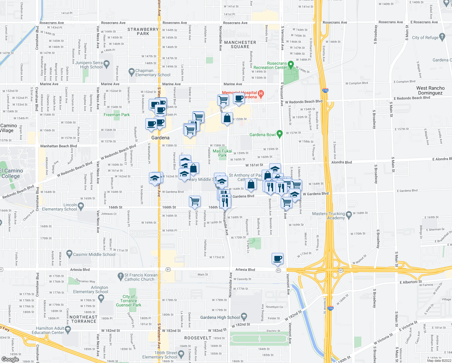 map of restaurants, bars, coffee shops, grocery stores, and more near S Normandie Ave & W 163rd St in Gardena