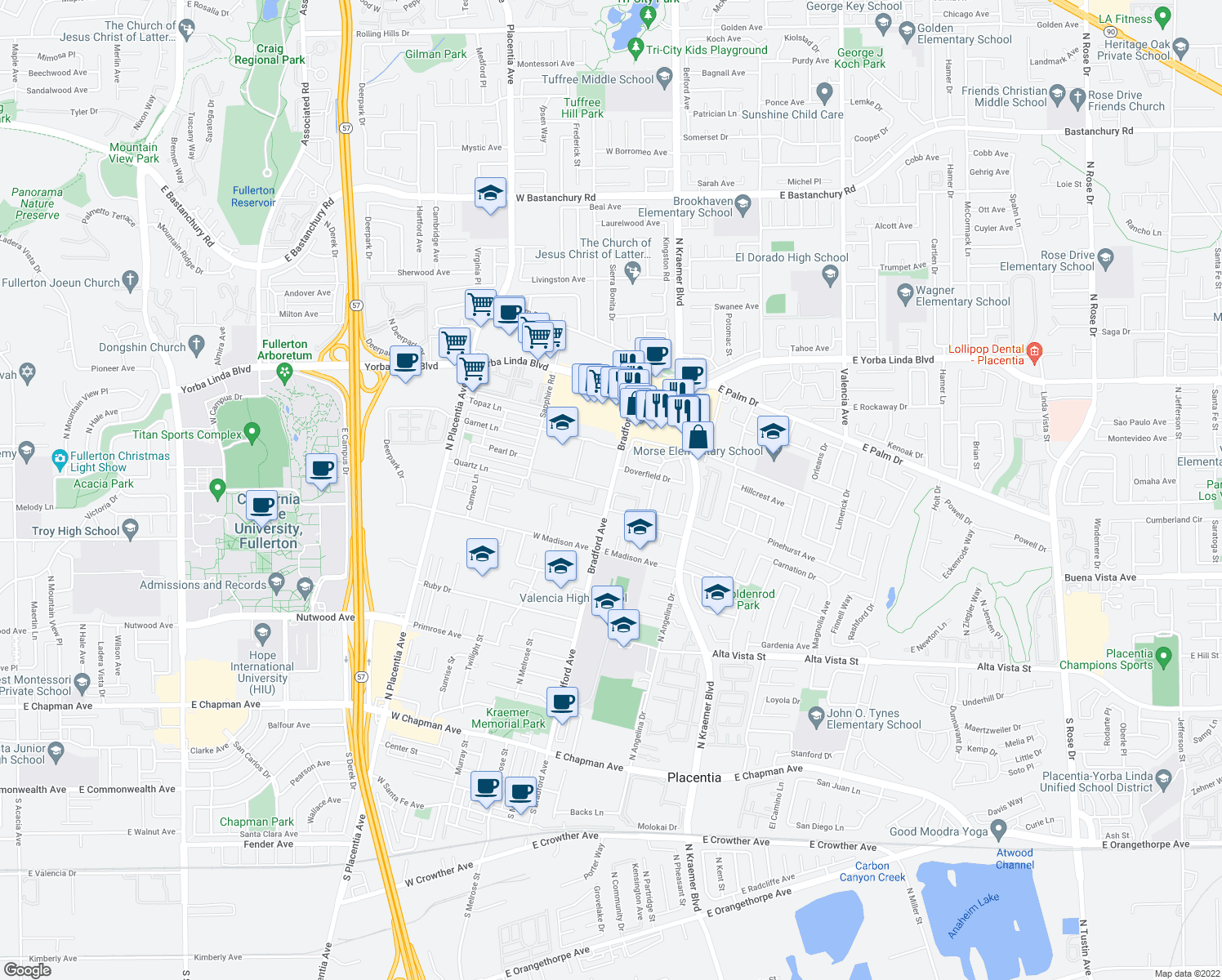 map of restaurants, bars, coffee shops, grocery stores, and more near Bradford Ave & Quartz Ln in Fullerton