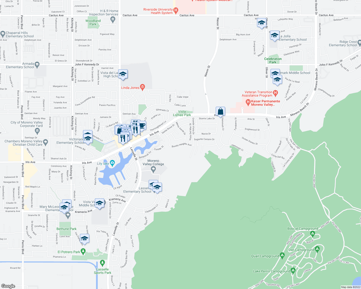 map of restaurants, bars, coffee shops, grocery stores, and more near Bonita Heights Avenue in Moreno Valley