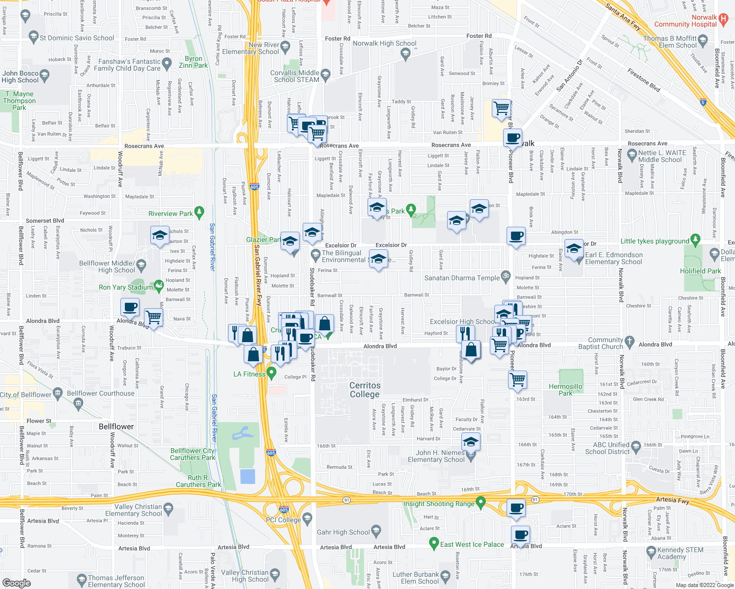 map of restaurants, bars, coffee shops, grocery stores, and more near 15403 Fairford Avenue in Norwalk