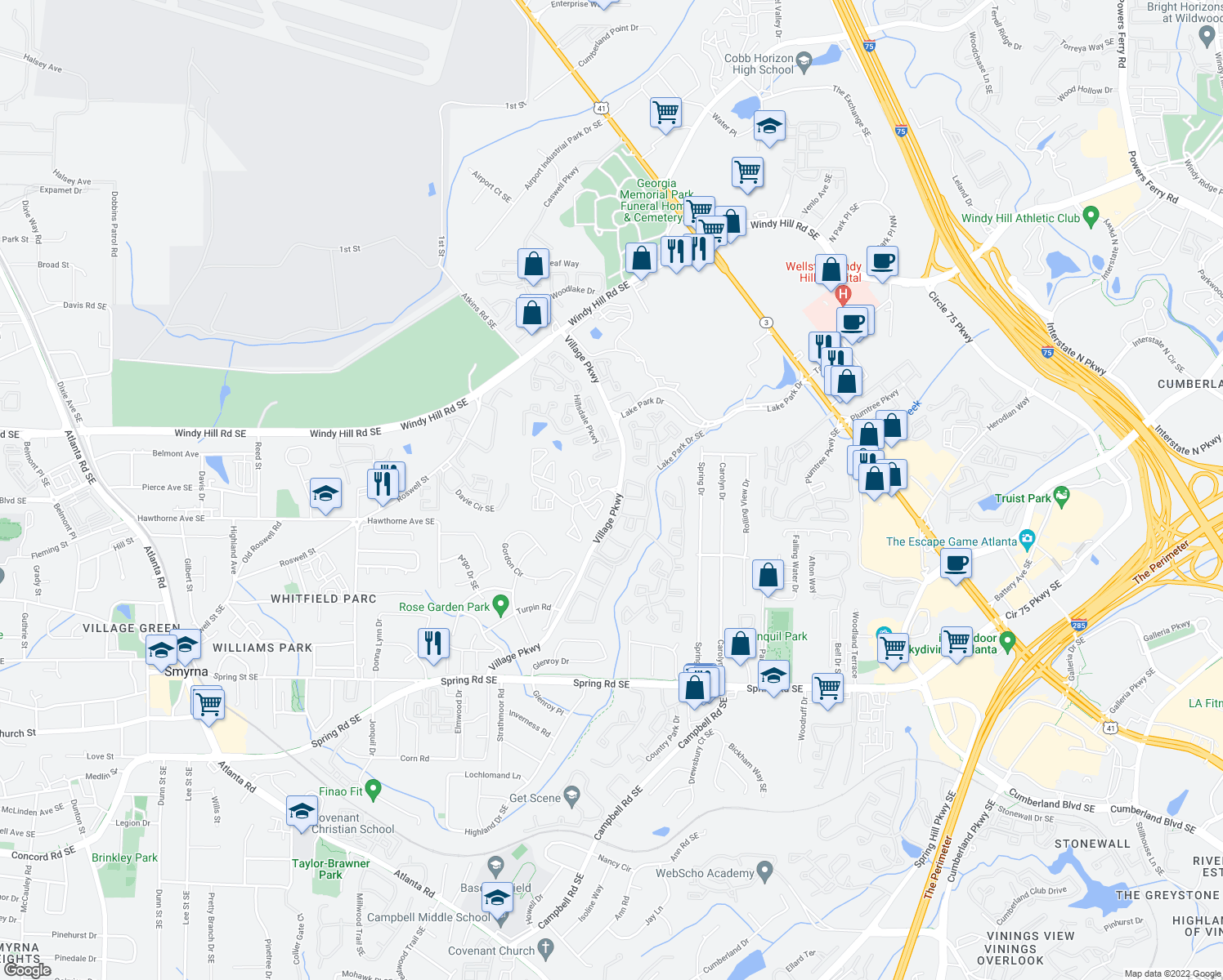 map of restaurants, bars, coffee shops, grocery stores, and more near 2468-2490 Village Pkwy SE in Smyrna