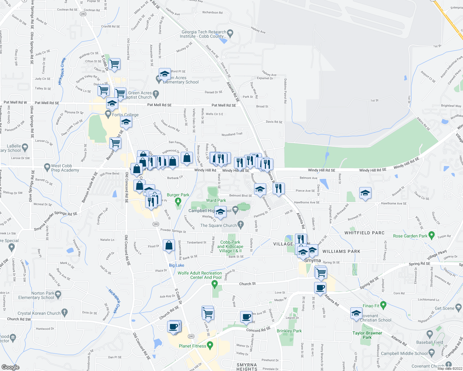 map of restaurants, bars, coffee shops, grocery stores, and more near 2525 Ward Street Southeast in Smyrna