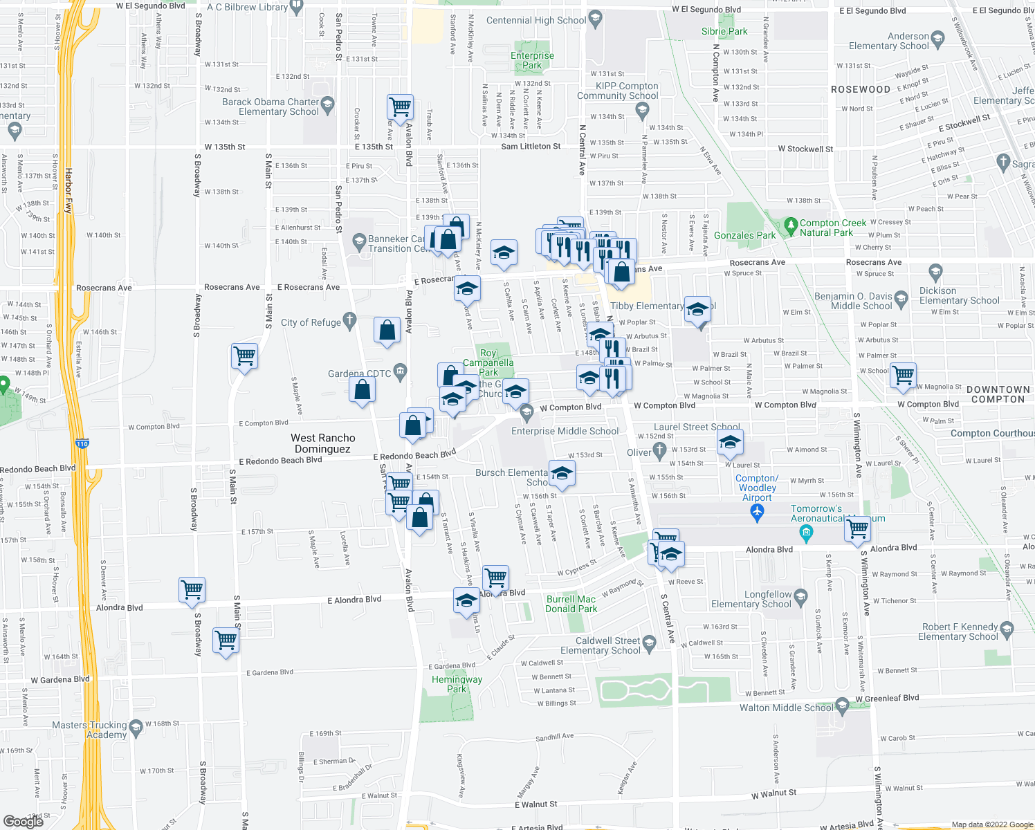 map of restaurants, bars, coffee shops, grocery stores, and more near 2605 West Compton Boulevard in Compton