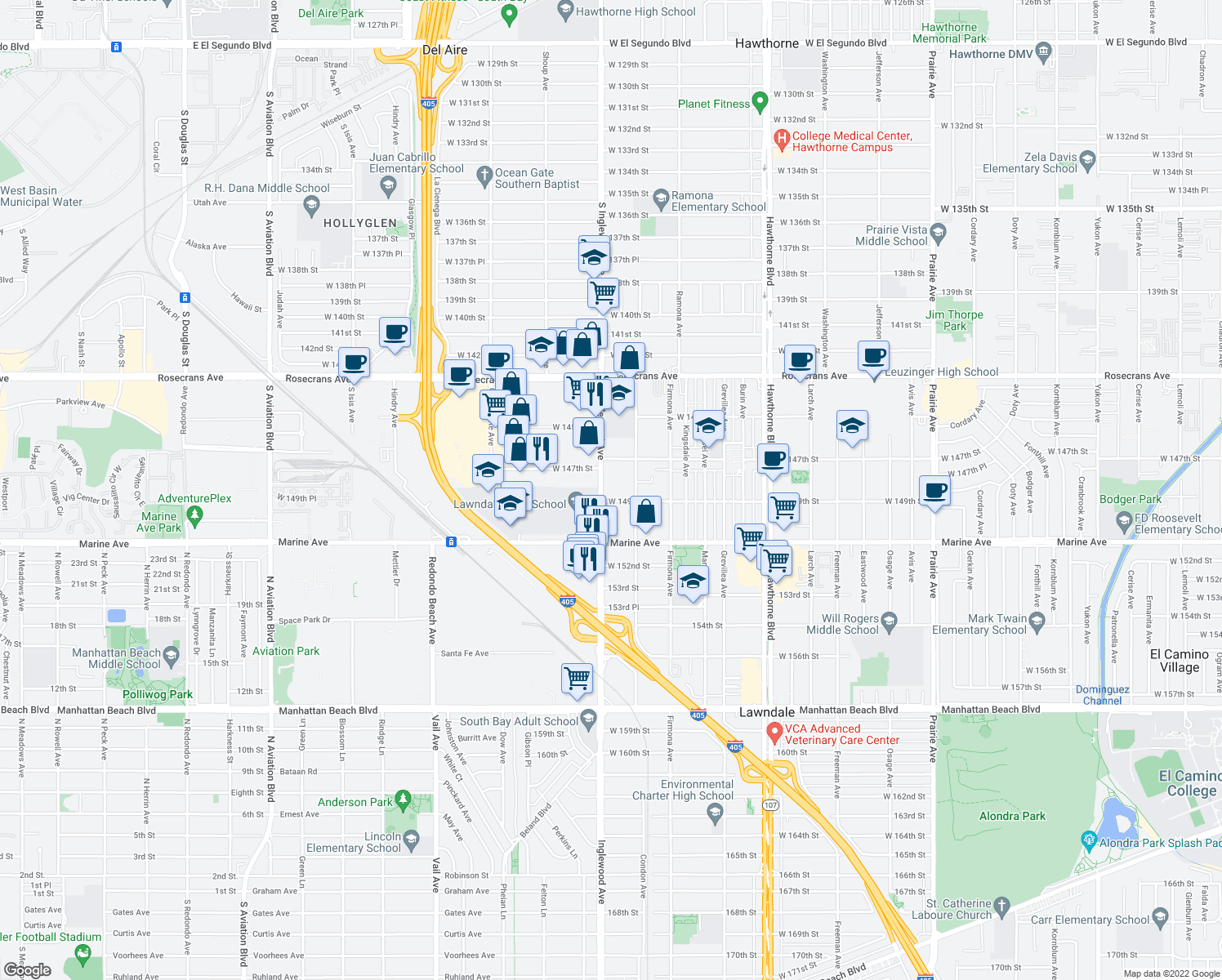 map of restaurants, bars, coffee shops, grocery stores, and more near 14814 Inglewood Avenue in Lawndale