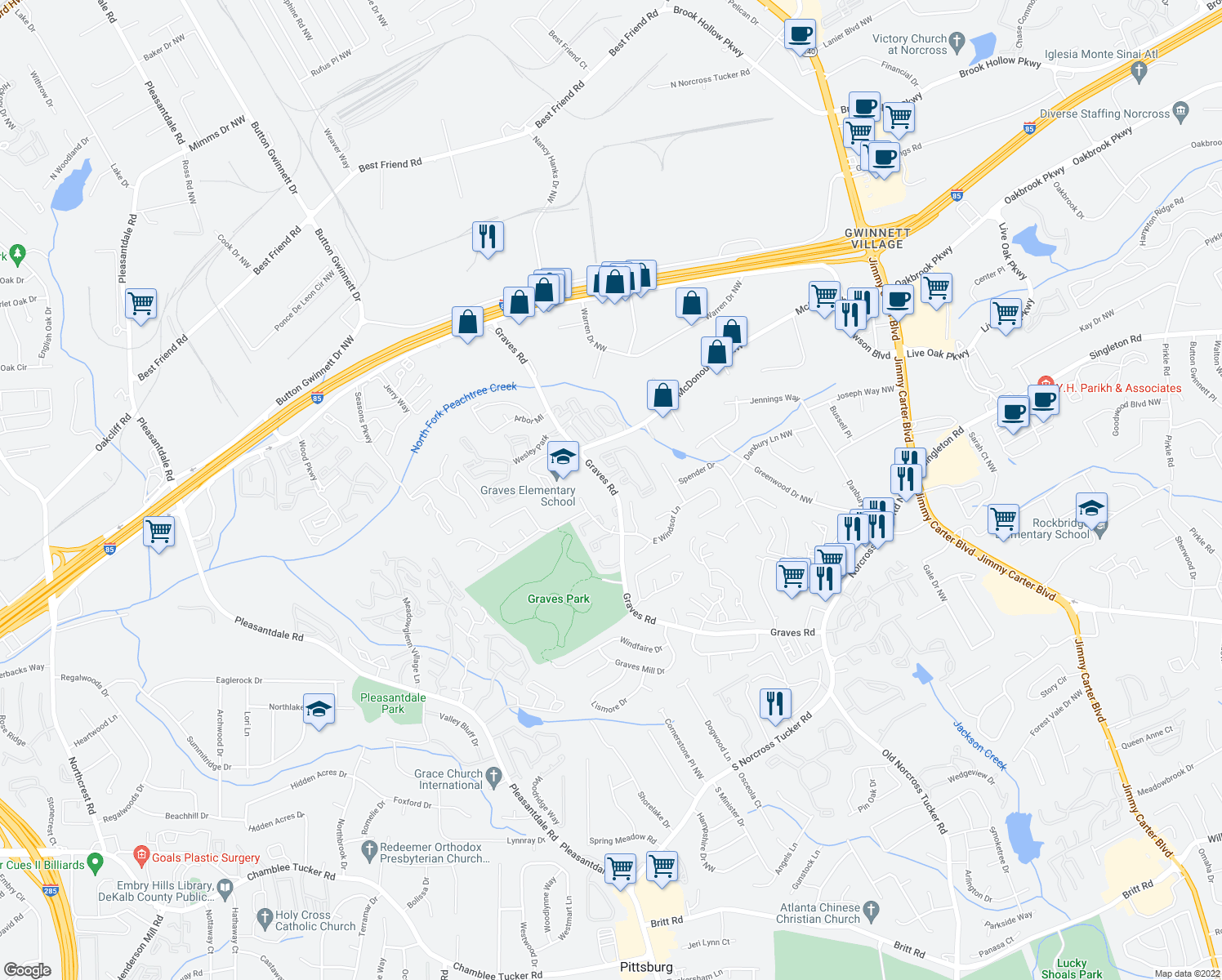 map of restaurants, bars, coffee shops, grocery stores, and more near 1699 Graves Road in Norcross