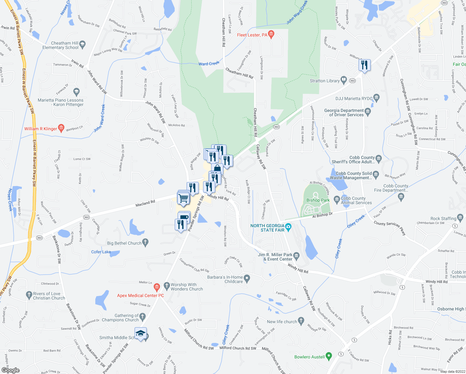 map of restaurants, bars, coffee shops, grocery stores, and more near 177-201 Ardmore Road Southwest in Marietta