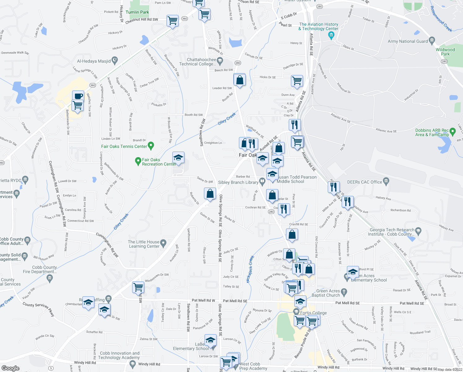 map of restaurants, bars, coffee shops, grocery stores, and more near 1550 Rebecca Drive Southwest in Marietta