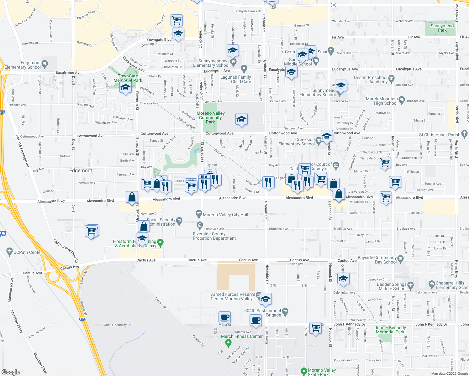 map of restaurants, bars, coffee shops, grocery stores, and more near 13964 Chagall Court in Moreno Valley