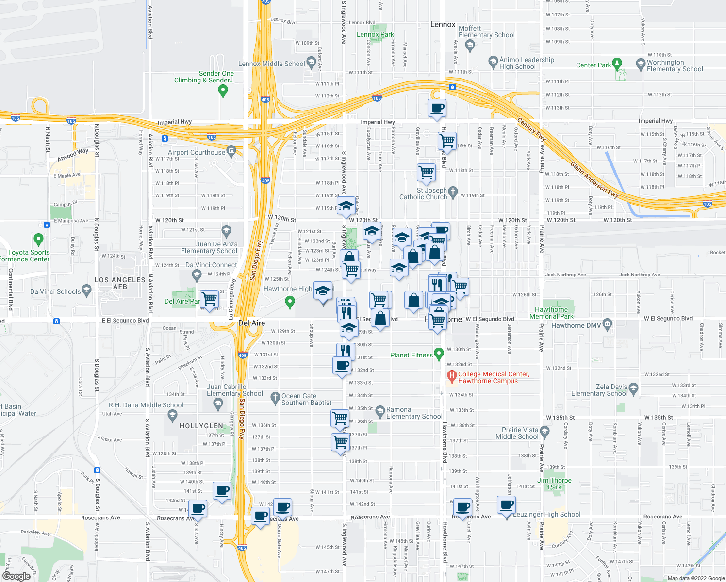 map of restaurants, bars, coffee shops, grocery stores, and more near 12537 Eucalyptus Avenue in Hawthorne