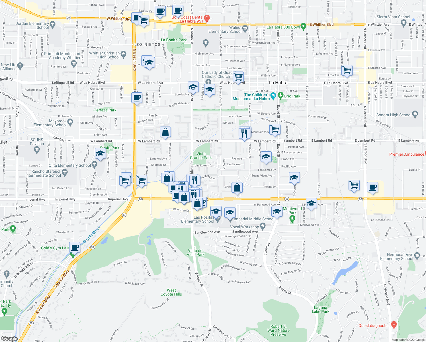 map of restaurants, bars, coffee shops, grocery stores, and more near 972-1016 Las Lomas Drive in La Habra