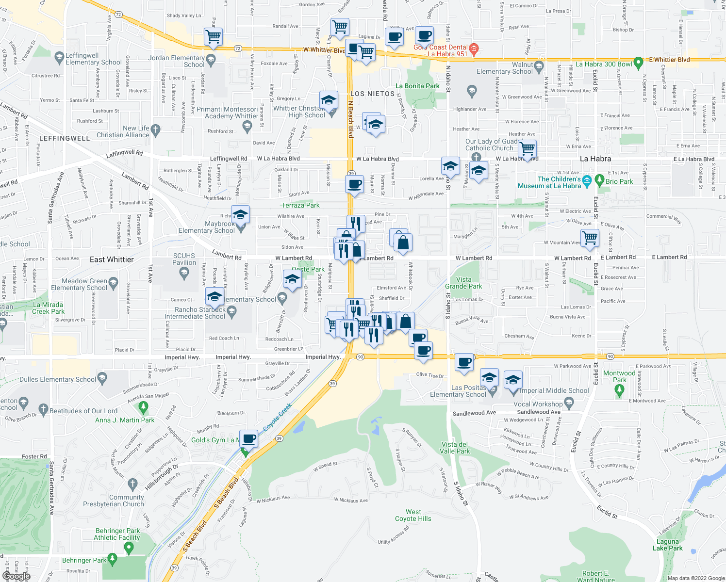 map of restaurants, bars, coffee shops, grocery stores, and more near 1751 Elmsford Avenue in La Habra