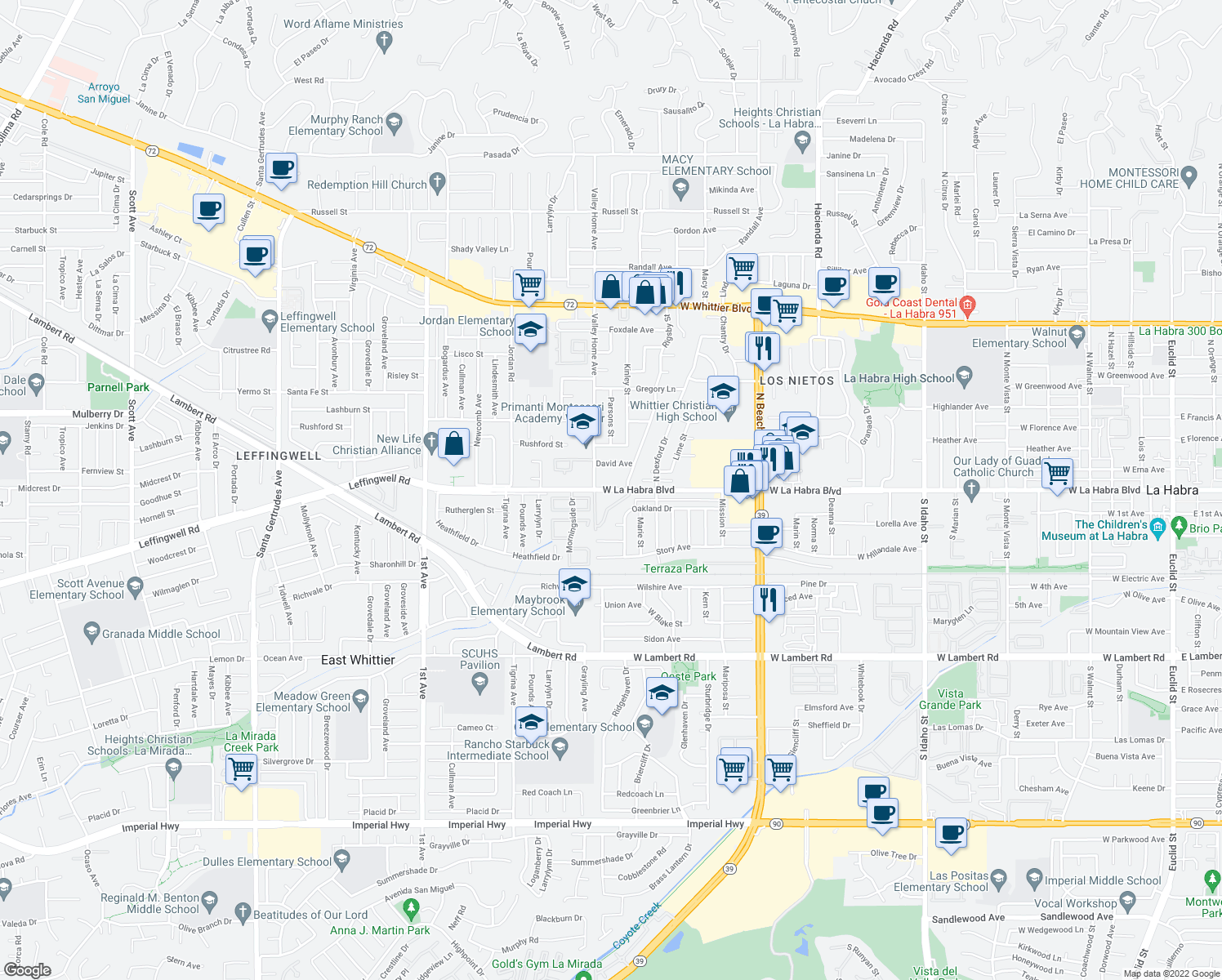 map of restaurants, bars, coffee shops, grocery stores, and more near 2461 Oakland Drive in La Habra