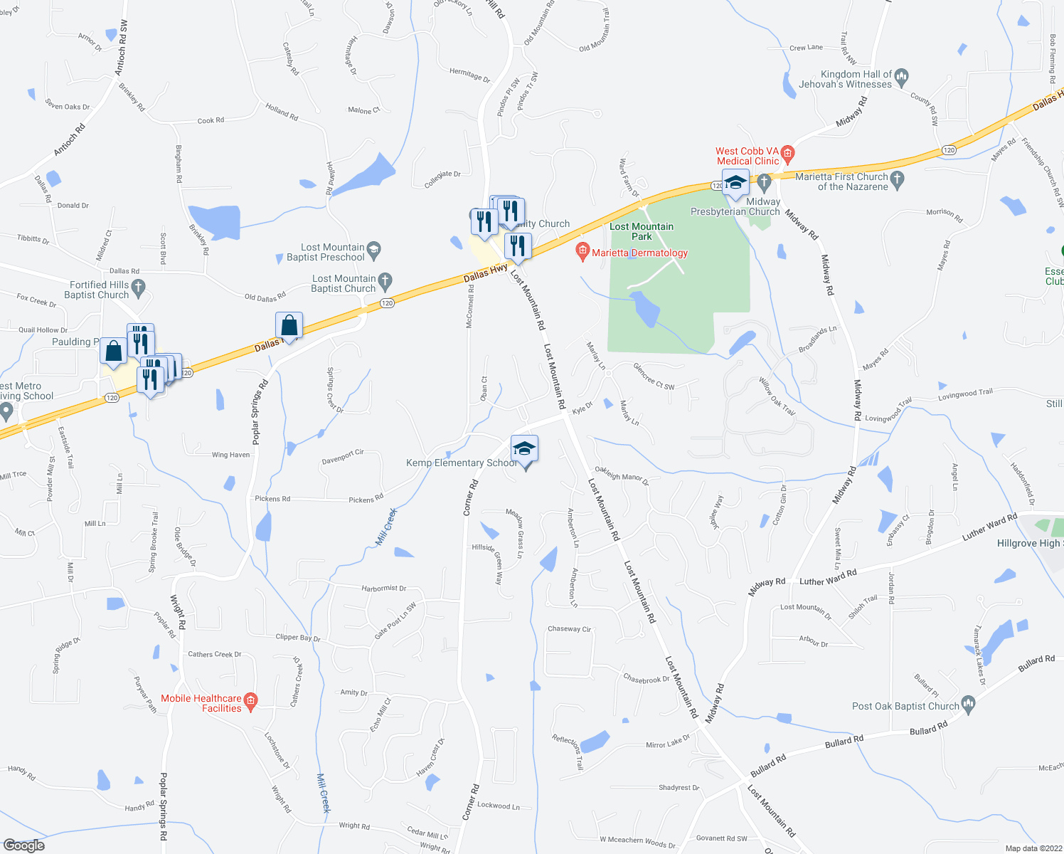 map of restaurants, bars, coffee shops, grocery stores, and more near 942-968 Corner Road in Powder Springs