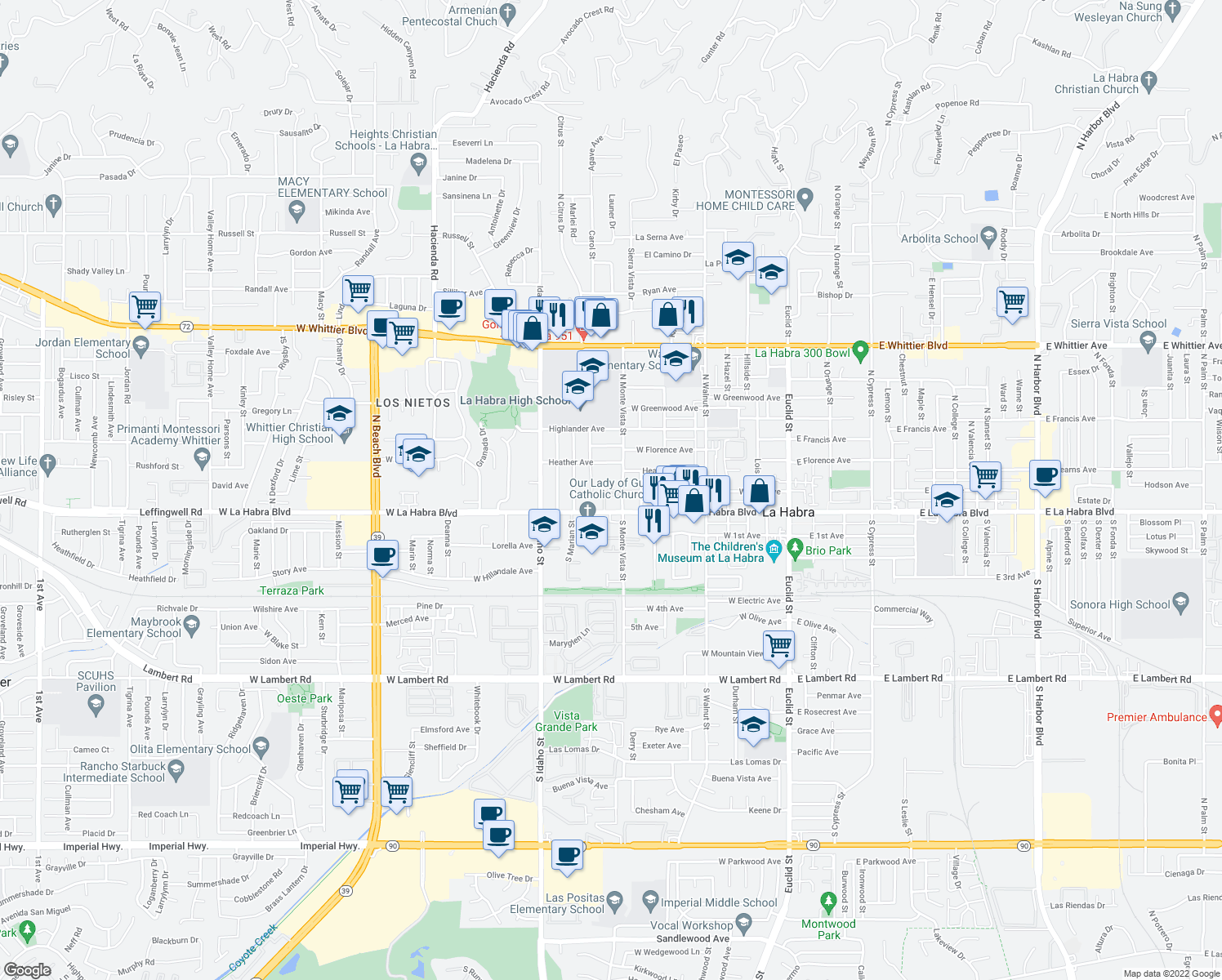 map of restaurants, bars, coffee shops, grocery stores, and more near 841 W La Habra Blvd in La Habra