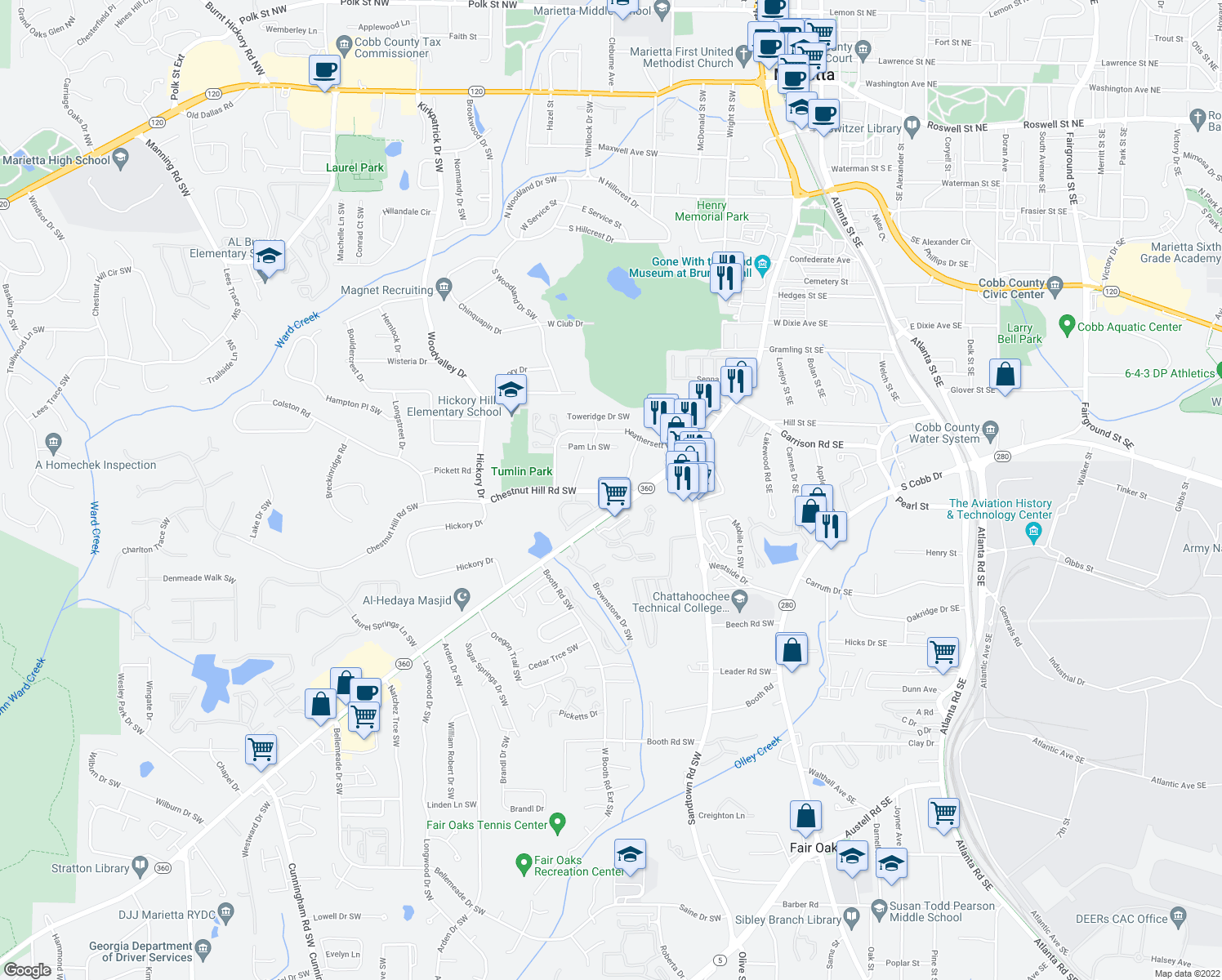 map of restaurants, bars, coffee shops, grocery stores, and more near 228 Chestnut Hill Rd SW in Marietta