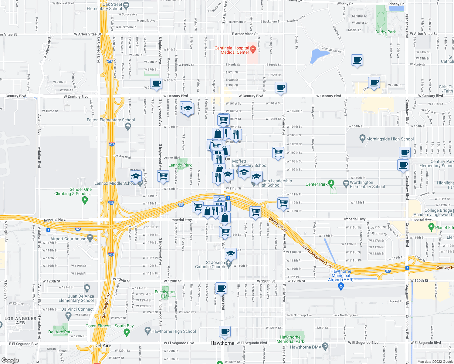 map of restaurants, bars, coffee shops, grocery stores, and more near 10933 Acacia Avenue in Inglewood