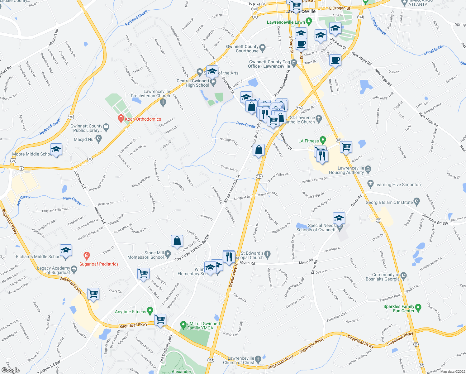 map of restaurants, bars, coffee shops, grocery stores, and more near 100-798 Cedargate Commons in Lawrenceville