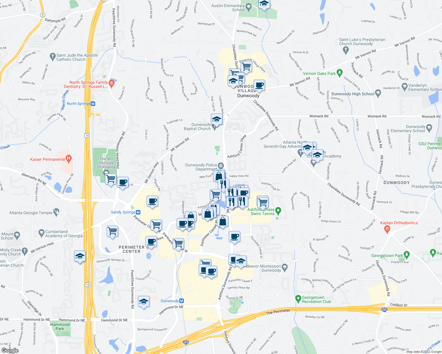 map of restaurants, bars, coffee shops, grocery stores, and more near Ashford Gables Dr in Dunwoody