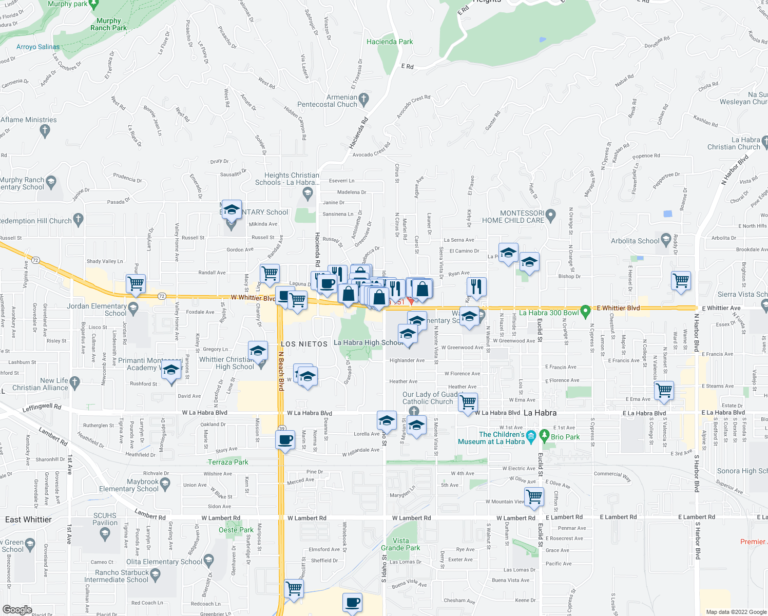 map of restaurants, bars, coffee shops, grocery stores, and more near 1220 West Whittier Boulevard in La Habra