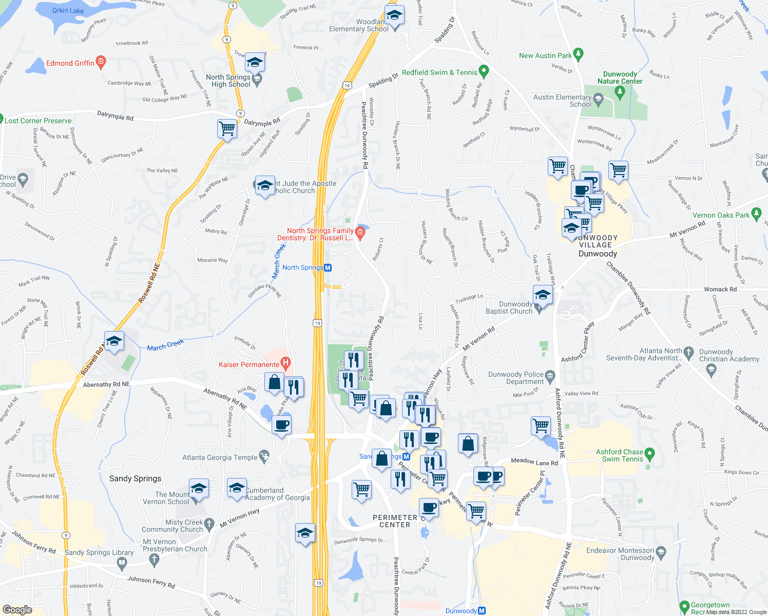 map of restaurants, bars, coffee shops, grocery stores, and more near 6799-6821 Peachtree Dunwoody Road Northeast in Sandy Springs