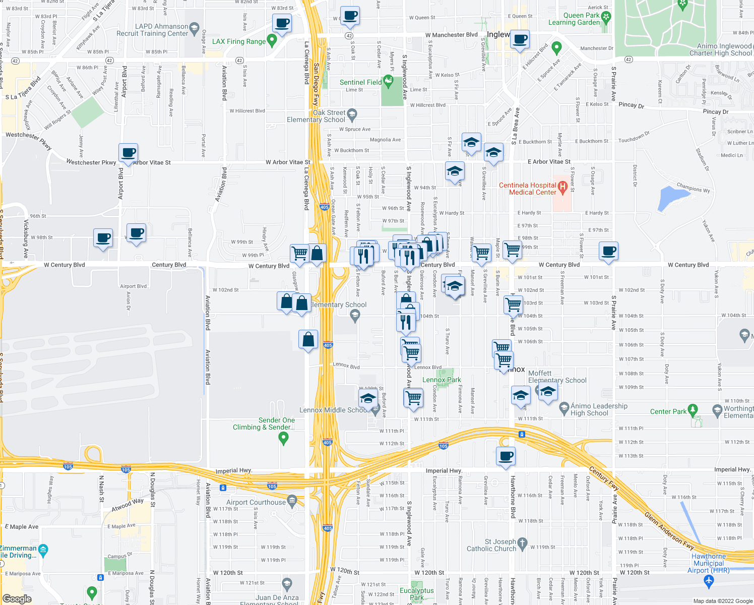 map of restaurants, bars, coffee shops, grocery stores, and more near 10314-10398 South Buford Avenue in Lennox