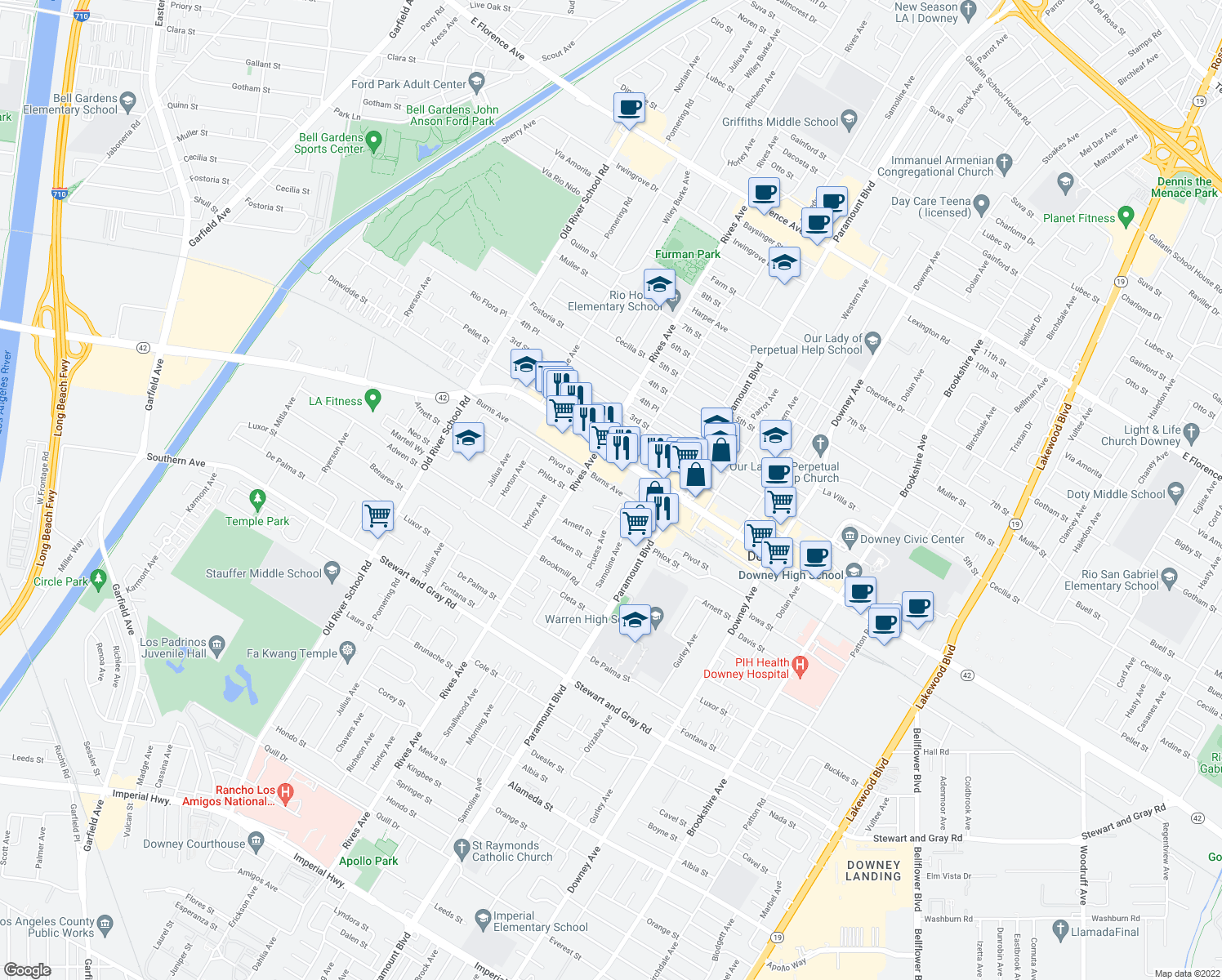 map of restaurants, bars, coffee shops, grocery stores, and more near 7860 Burns Avenue in Downey