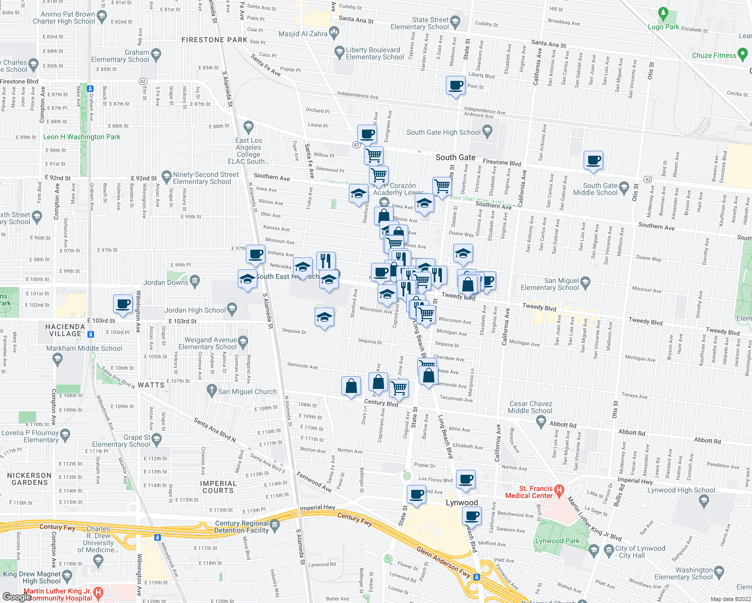 map of restaurants, bars, coffee shops, grocery stores, and more near 9940 San Anselmo Avenue in South Gate