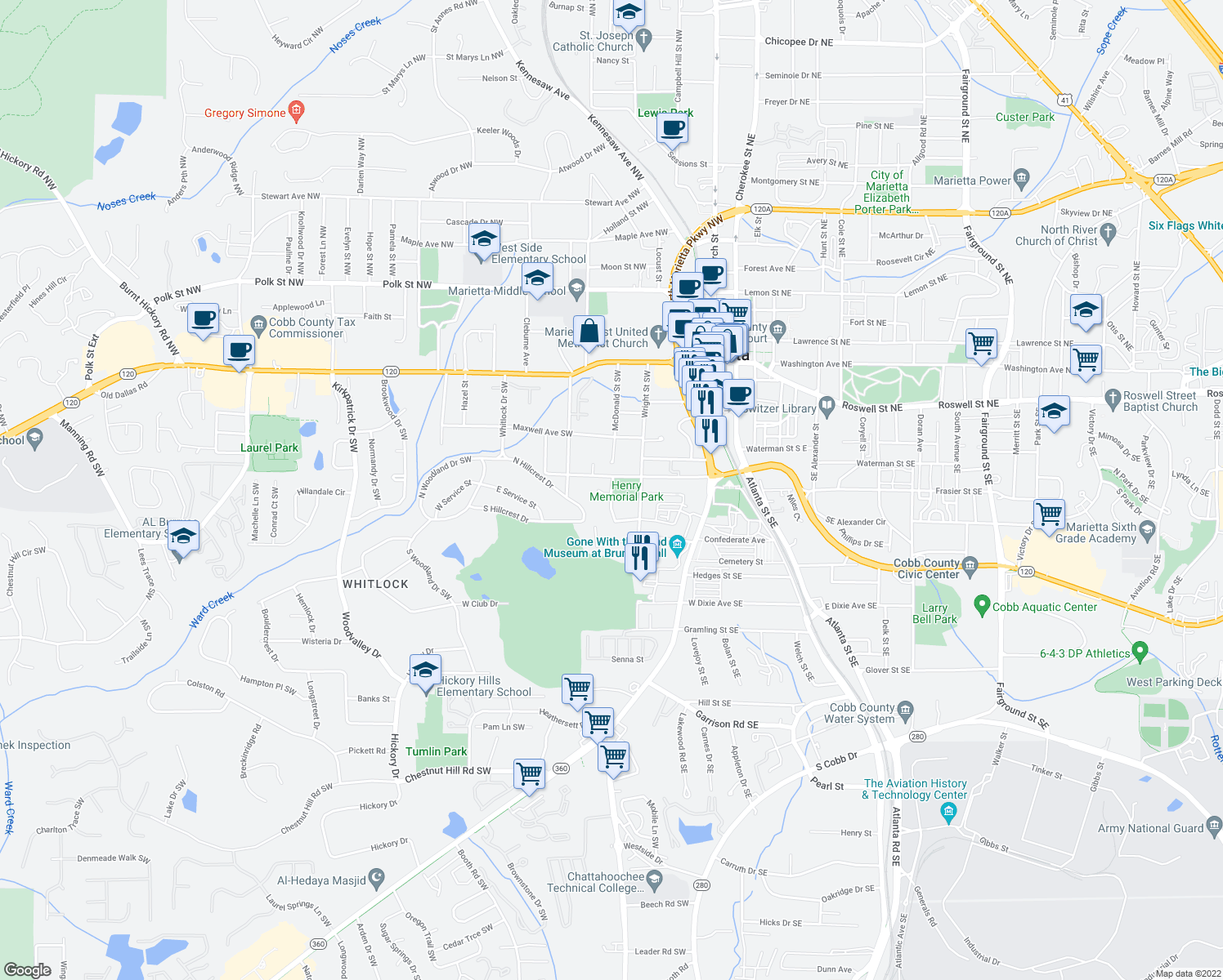 map of restaurants, bars, coffee shops, grocery stores, and more near 377 Henry Dr in Marietta