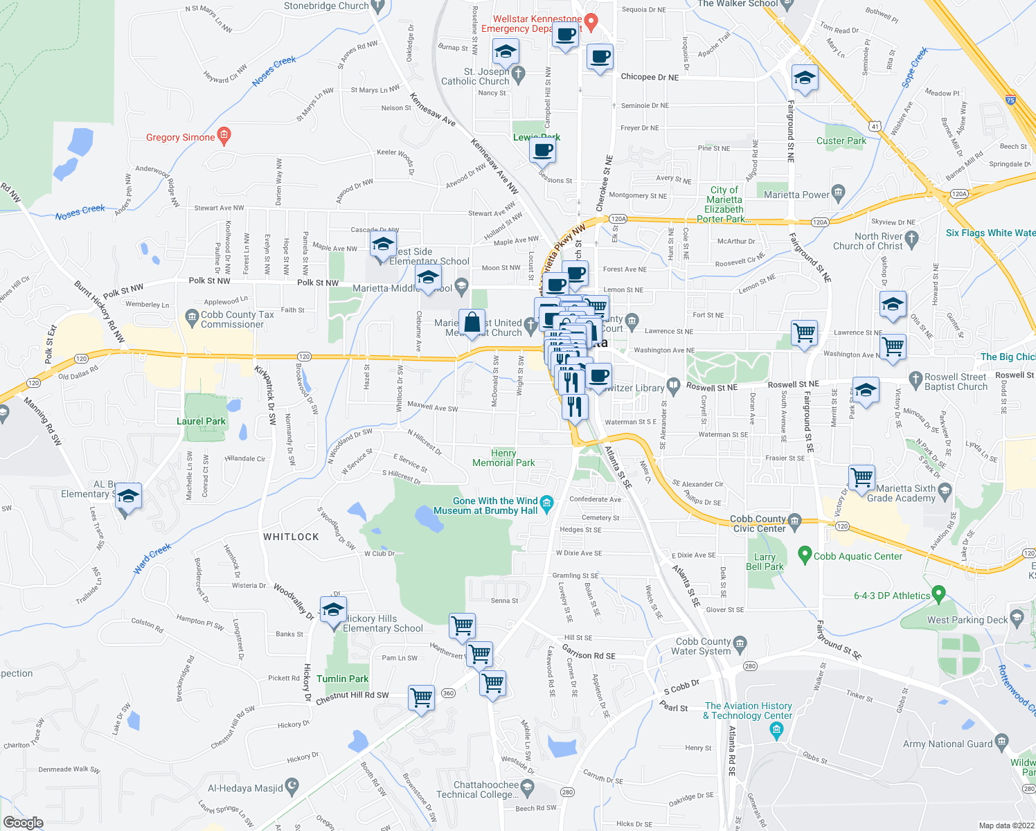 map of restaurants, bars, coffee shops, grocery stores, and more near 219 Wright Street in Marietta