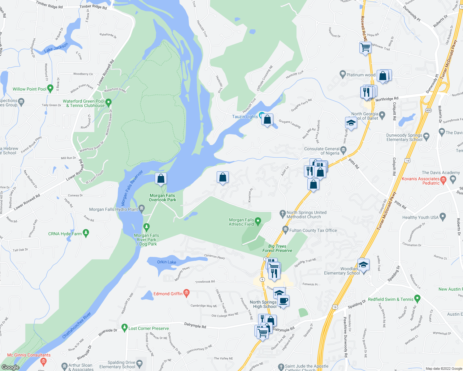 map of restaurants, bars, coffee shops, grocery stores, and more near Harbor Pointe Parkway in Sandy Springs