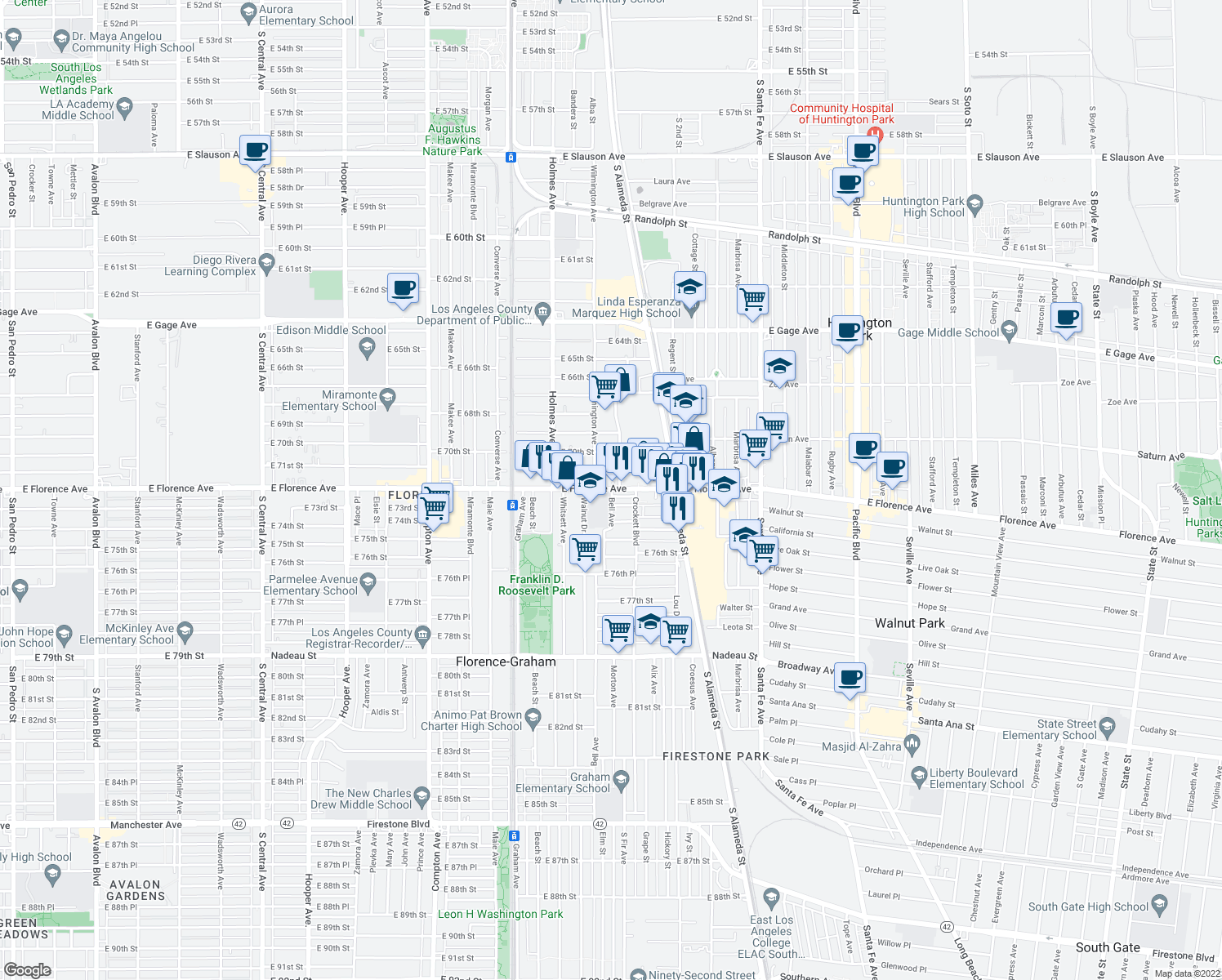map of restaurants, bars, coffee shops, grocery stores, and more near in Huntington Park
