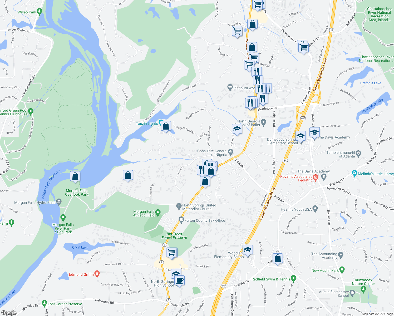 map of restaurants, bars, coffee shops, grocery stores, and more near 8101-8151 Adair Ln in Sandy Springs