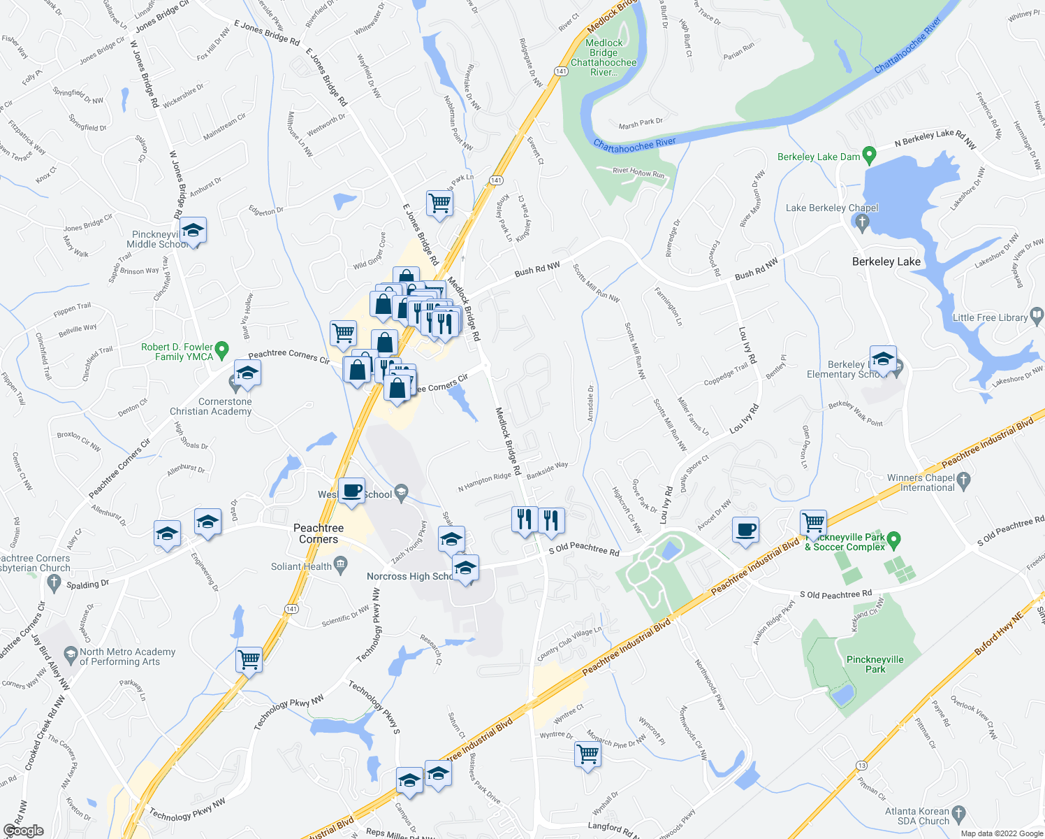 map of restaurants, bars, coffee shops, grocery stores, and more near 3456 Lockmed Drive Northwest in Norcross