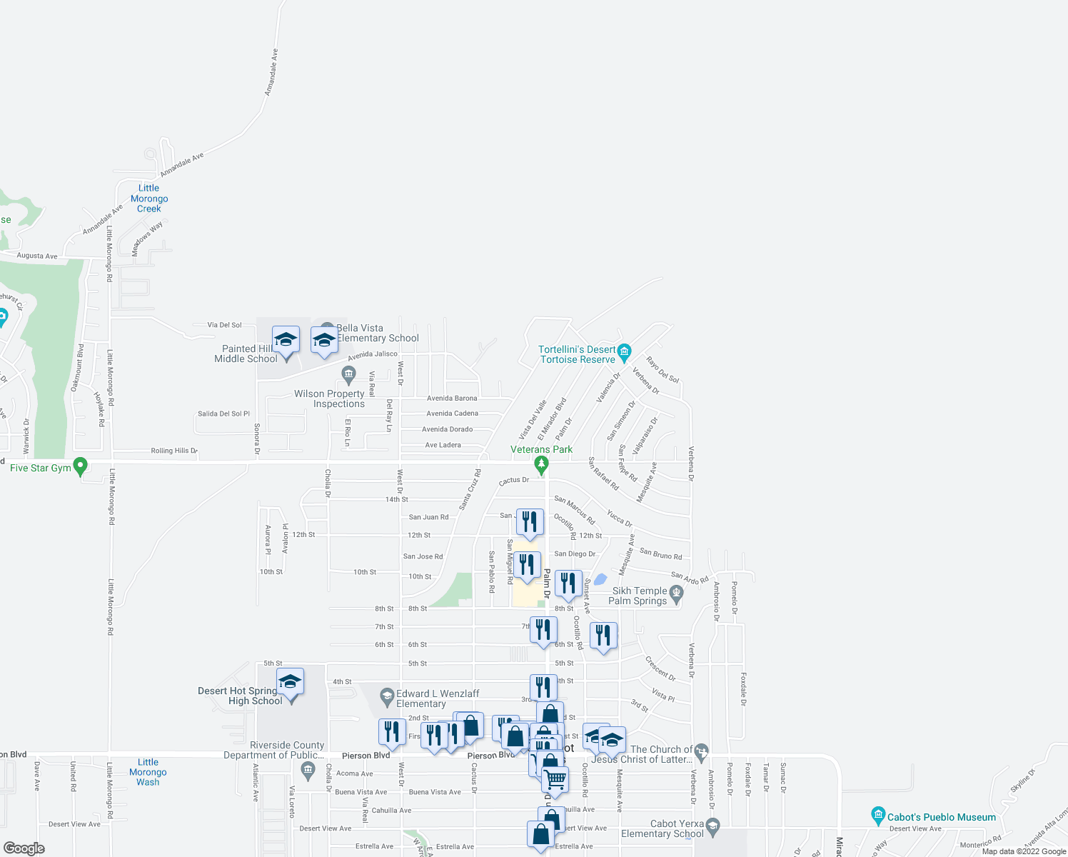 map of restaurants, bars, coffee shops, grocery stores, and more near 9770 Vista Del Valle in Desert Hot Springs