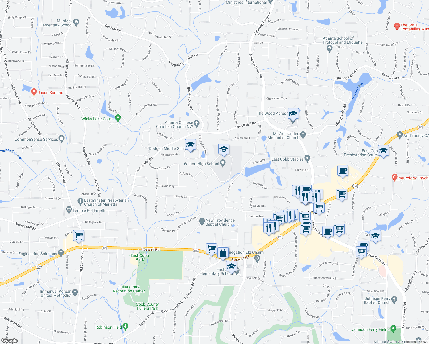 map of restaurants, bars, coffee shops, grocery stores, and more near 1472-1576 Bill Murdock Rd in Marietta
