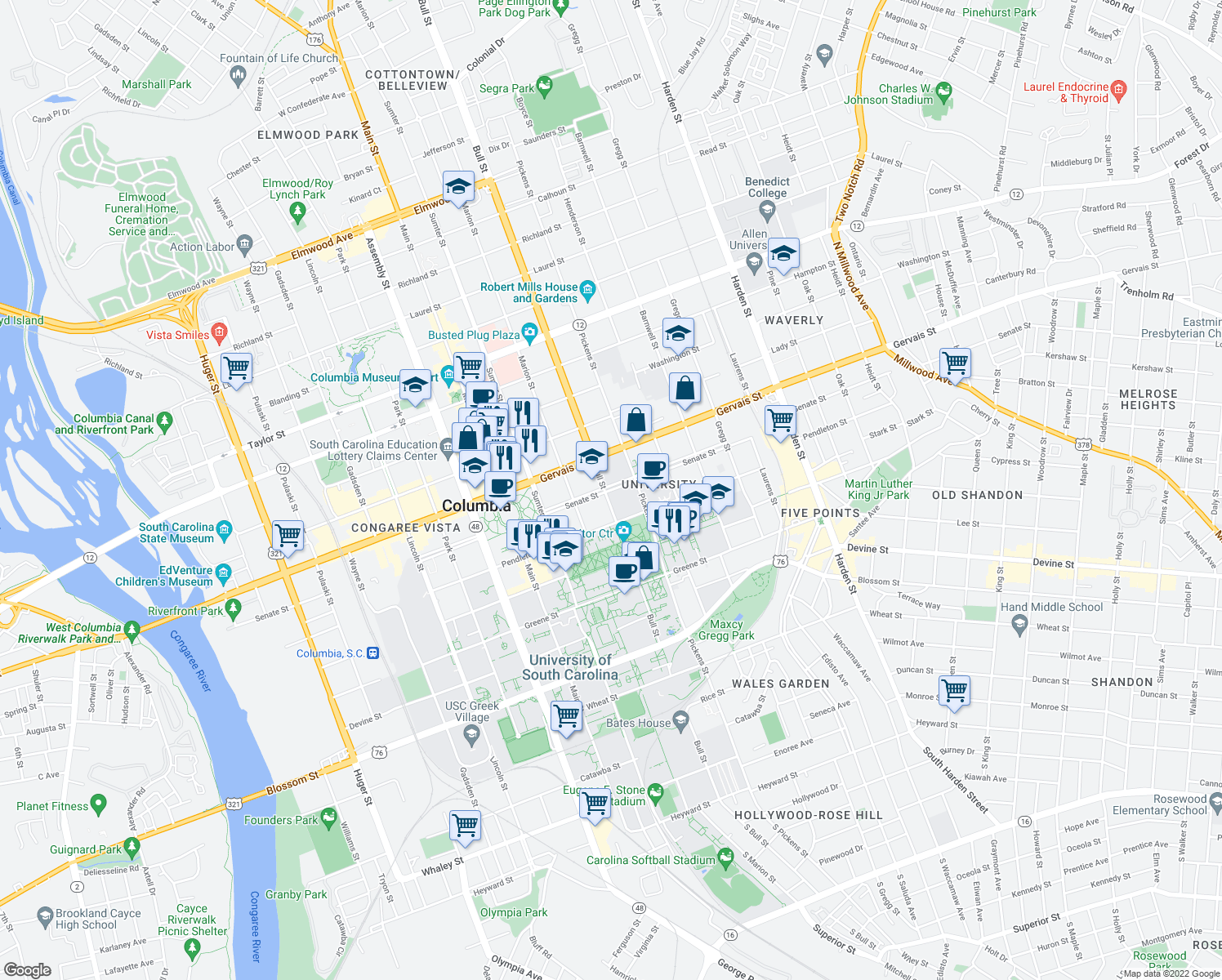 map of restaurants, bars, coffee shops, grocery stores, and more near 1101-1157 Bull Street in Columbia