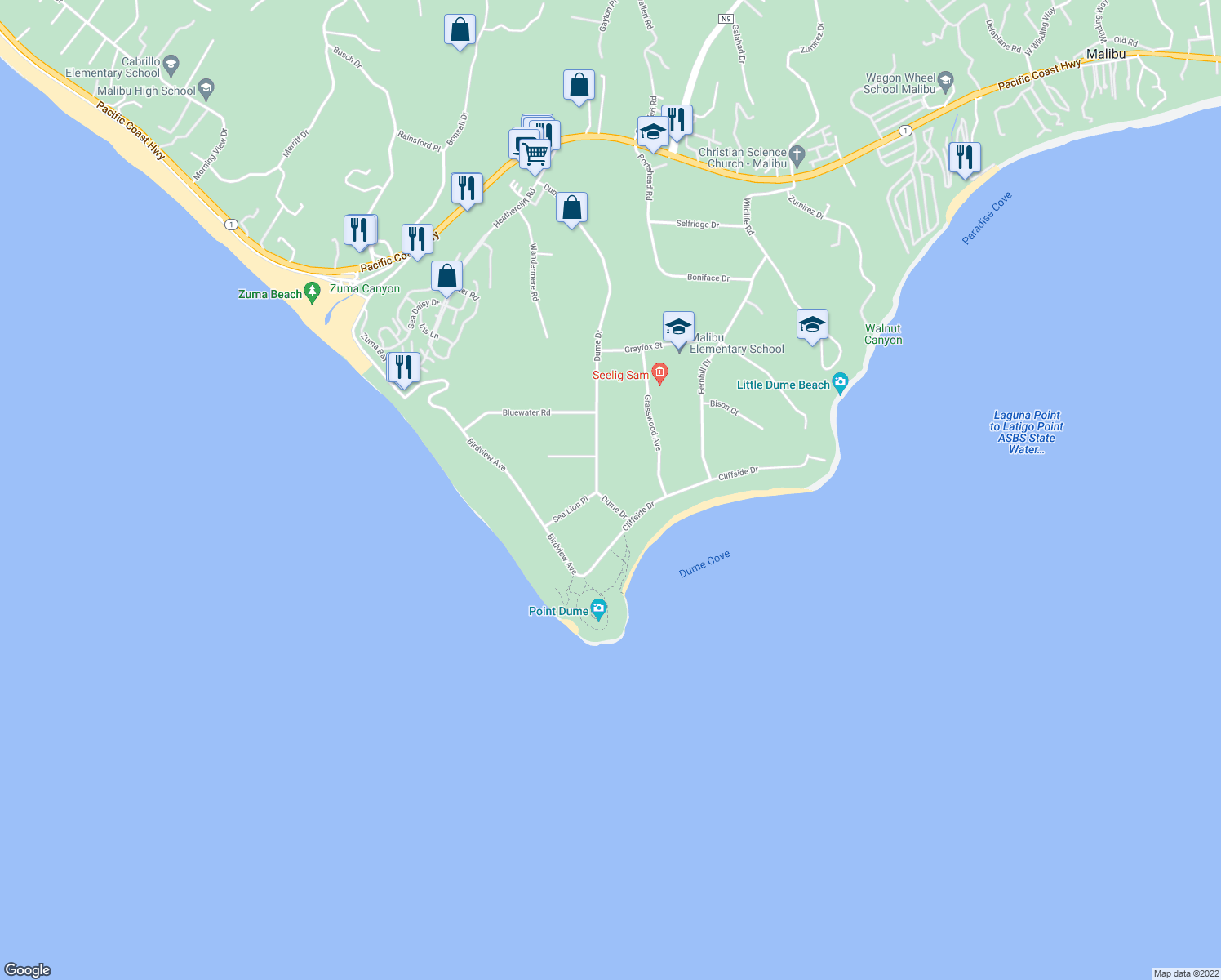 map of restaurants, bars, coffee shops, grocery stores, and more near 7160 Dume Drive in Malibu