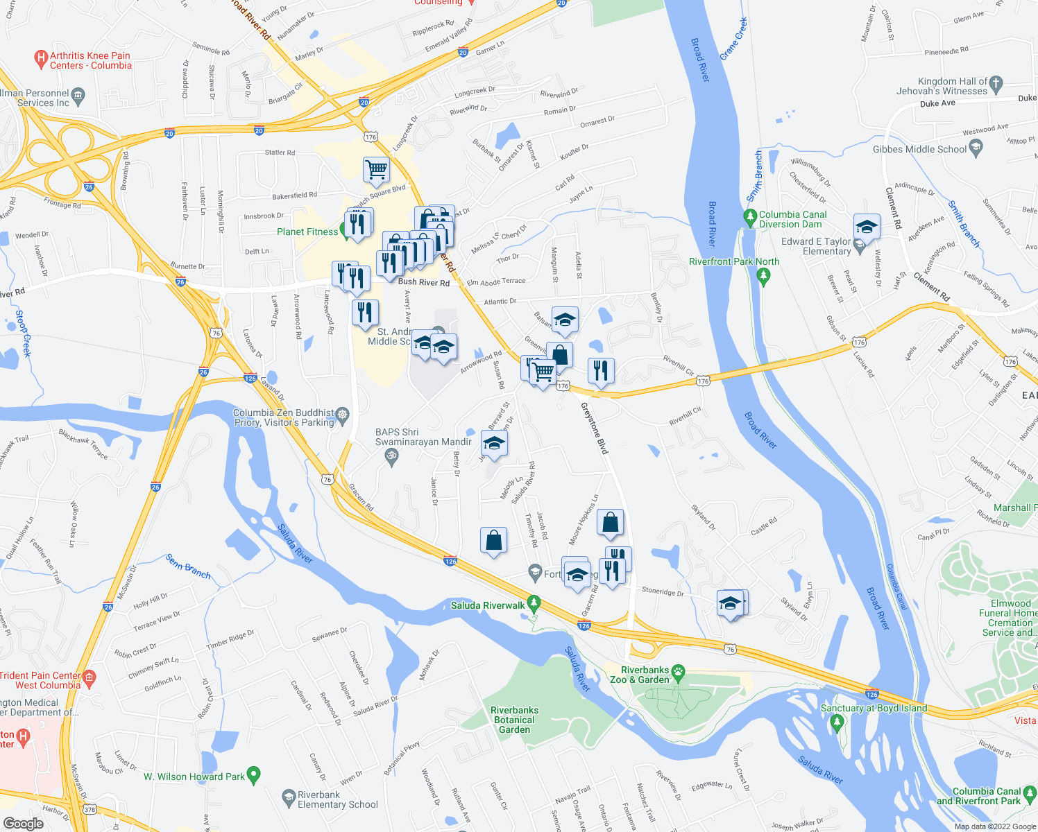 map of restaurants, bars, coffee shops, grocery stores, and more near 201 Saluda River Road in Columbia