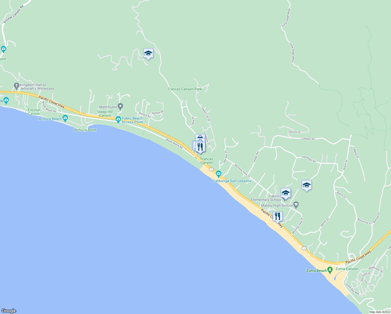 map of restaurants, bars, coffee shops, grocery stores, and more near 30732 Broad Beach Road in Malibu
