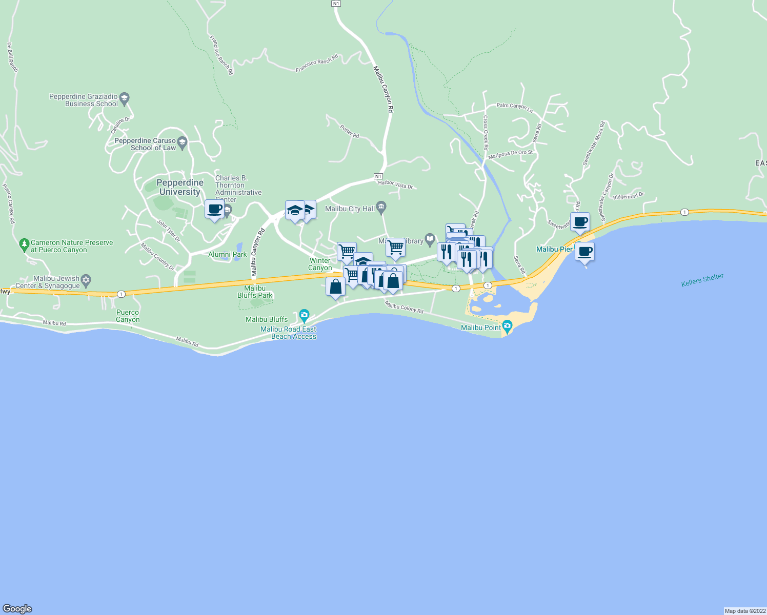 map of restaurants, bars, coffee shops, grocery stores, and more near 23736 Malibu Colony Road in Malibu