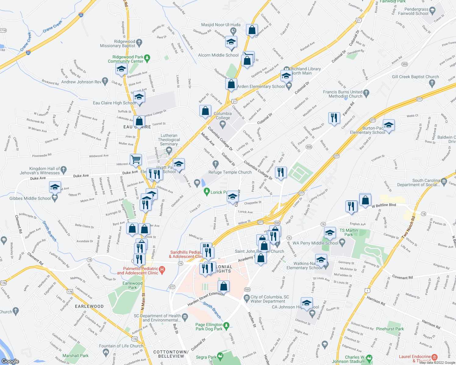map of restaurants, bars, coffee shops, grocery stores, and more near 4316-4398 Grand Street in Columbia